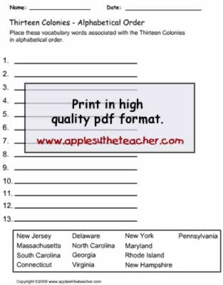 13 Colonies Alphabetical Order Worksheet