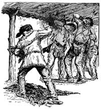Boone Throwing Tobacco into the Eyes of the Indians Who Had Come to Capture Him.