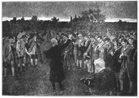 President Langdon, the President of Harvard College, Praying for the Bunker Hill Entrenching Party on Cambridge Common Just Before Their Departure.