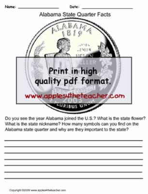 Alabama State Quarter Observation Worksheet